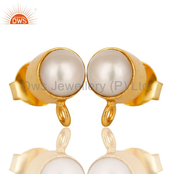Exporter Handmade Traditional Pearl Stud Earrings with 18k Gold Plated Sterling Silver