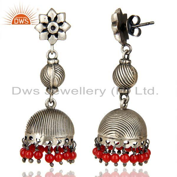 Exporter Black Oxidized 925 Sterling Silver Handmade Red Coral Jhumka Earrings Jewelry
