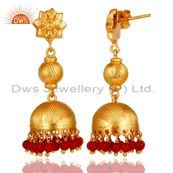 Exporter 24K Gold Plated 925 Sterling Silver Handmade Red Coral Jhumka Earrings Jewelry
