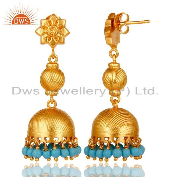 Exporter Flower Carving Jhumka Earrings with 18k Gold Plated Sterling Silver & Turquoise