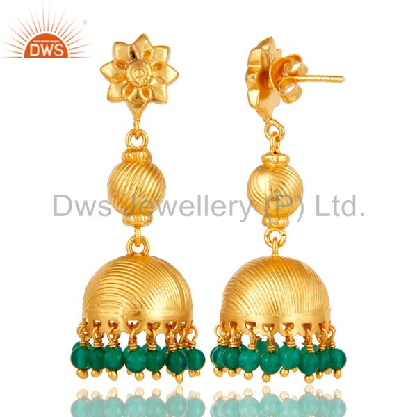 Exporter Flower Carving Jhumka Earrings with 18k Gold Plated Sterling Silver & Green Onyx