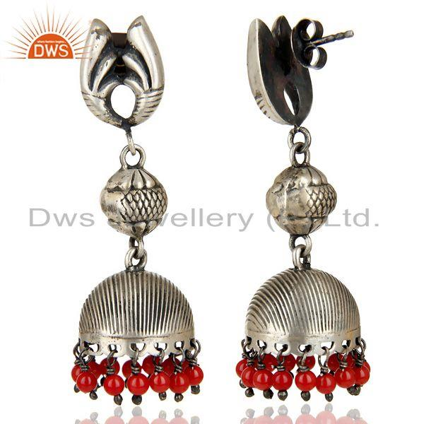 Exporter Black Oxidized 925 Sterling Silver Red Coral Jhumka Earrings Wedding Jewelry