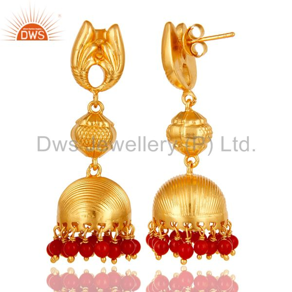 Exporter 18k Gold Plated Sterling Silver Traditional Jhumka Earrings With Coral