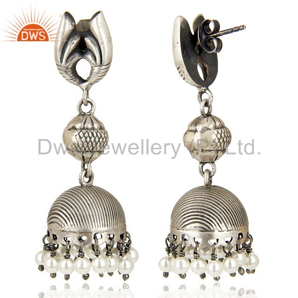 Exporter Stunning Oxidized 925 Sterling Silver Traditional Jhumka Earrings Gift Jewelry