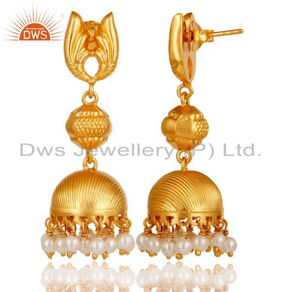 Exporter 18k Gold Plated Sterling Silver Traditional Jhumka Earrings with Pearl
