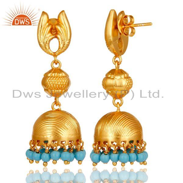 Exporter 18k Gold Plated Sterling Silver Traditional Jhumka Earrings with Turquoise