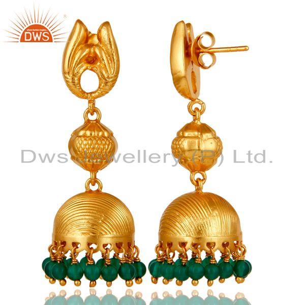 Exporter 18k Gold Plated Sterling Silver Traditional Design Jhumka Green Onyx Earrings