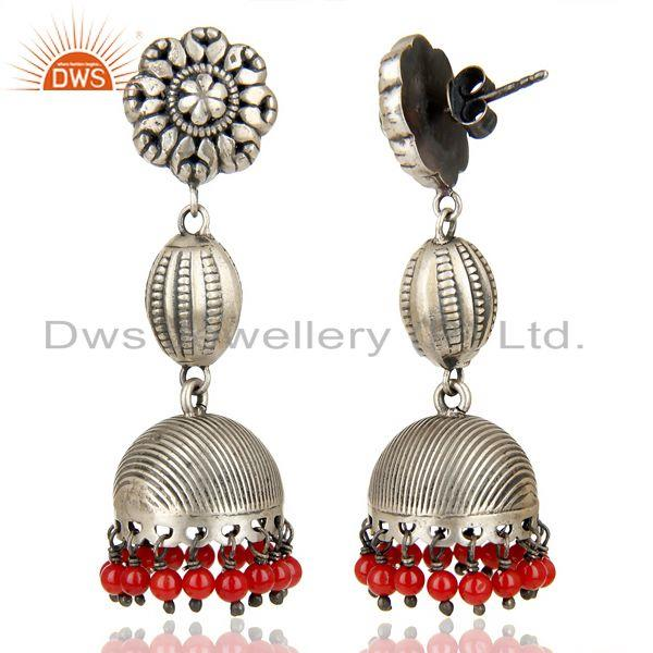 Exporter Oxidized 925 Sterling Silver Handmade Flower Design Red Coral Jhumka Earrings
