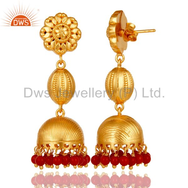 Exporter 18k Gold Plated 925 Sterling Silver Traditional Design Jhumka Red Coral Earrings