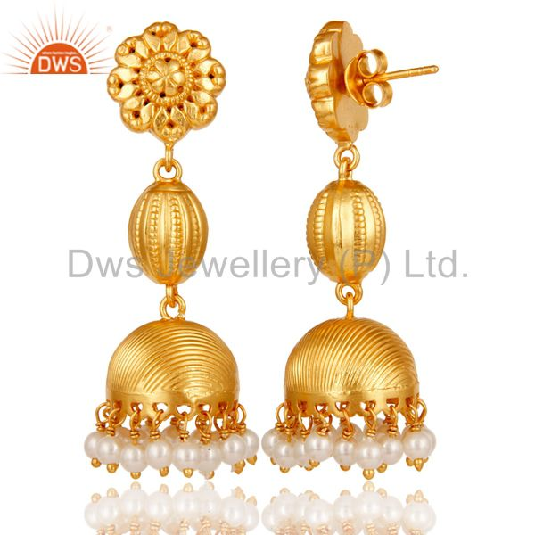 Exporter 18k Gold Plated 925 Sterling Silver Traditional Design Pearl Bead Jhumka Earring