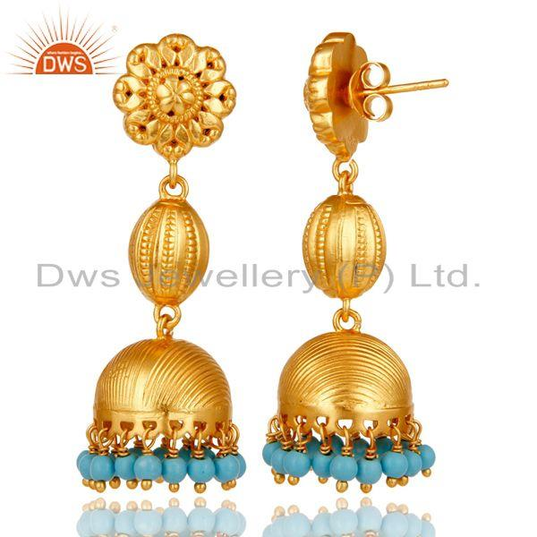 Exporter 18k Gold Plated 925 Sterling Silver Traditional Design Jhumka Turquoise Earrings