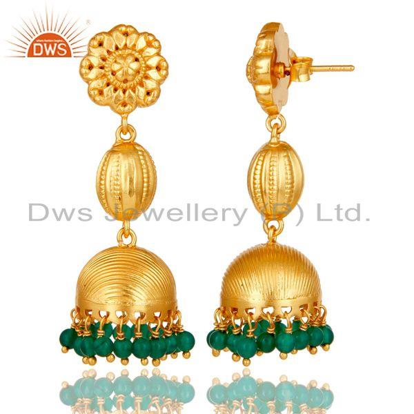 Exporter 18k Gold Plated Sterling Silver Traditional Jhumka Earrings with Green Onyx