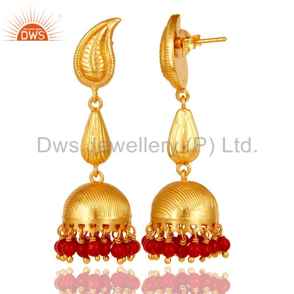 Exporter 18k Gold Plated Sterling Silver Traditional Jhumka Earrings with Red Coral
