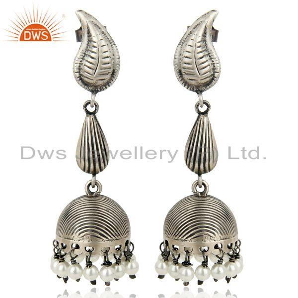 Exporter Black Oxidized 925 Sterling Silver Traditional Handmade Pearl Jhumka Earrings