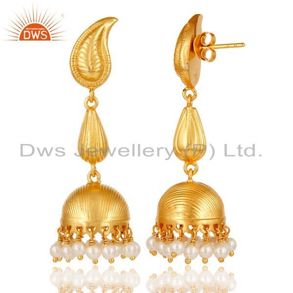 Exporter 18k Gold Plated Sterling Silver Traditional Jhumka Earrings with Pearl Bead