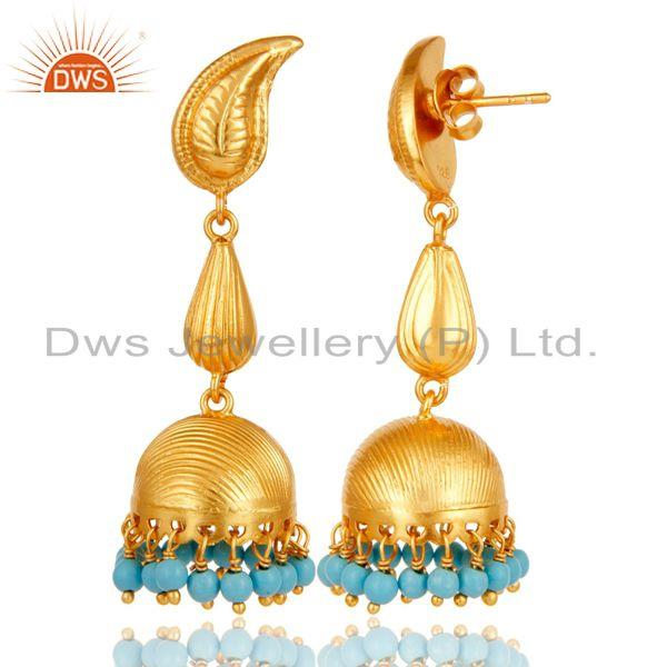 Exporter 18k Gold Plated 925 Sterling Silver Traditional Jhumka Earrings With Turquoise