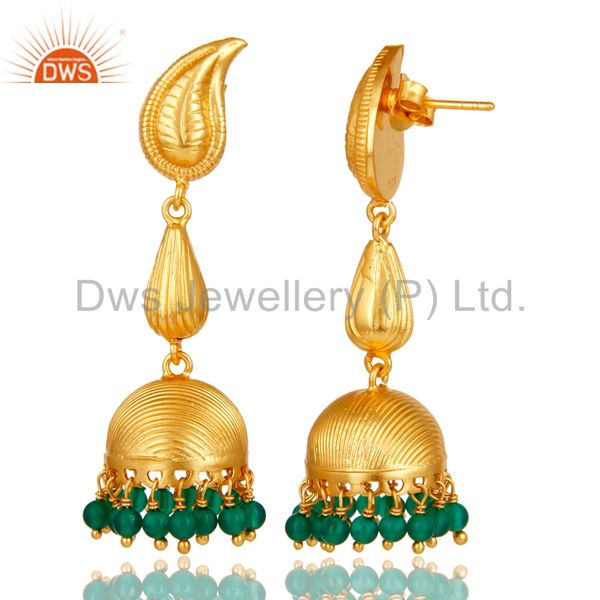 Exporter 18k Gold Plated 925 Sterling Silver Handmade Jhumka Earrings with Green Onyx