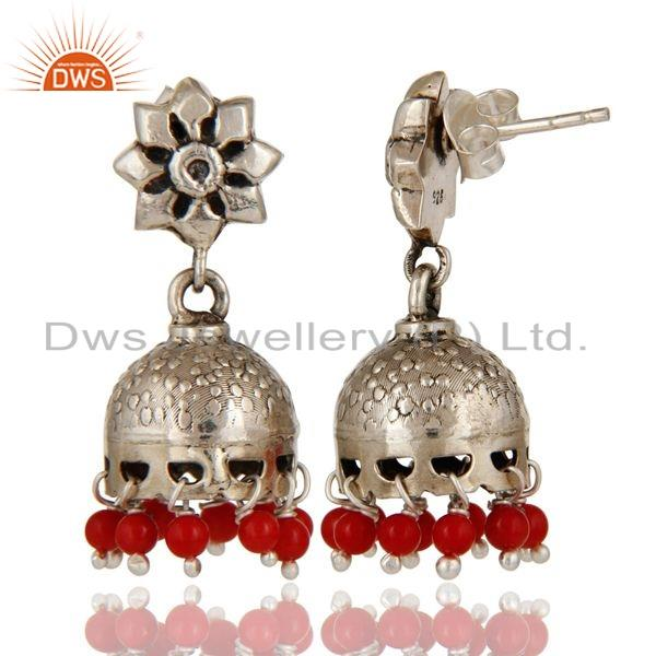Suppliers Solid 925 Sterling Silver Handmade Jhumka Earrings With Cultured Coral