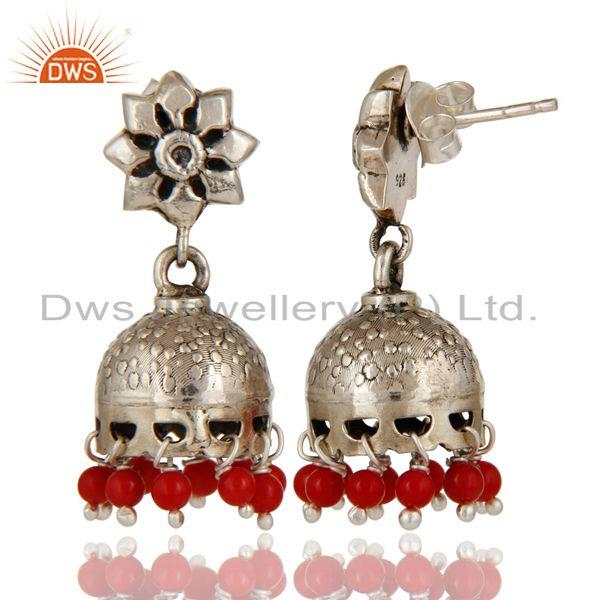 Exporter Solid 925 Sterling Silver Handmade Jhumka Earrings With Cultured Coral