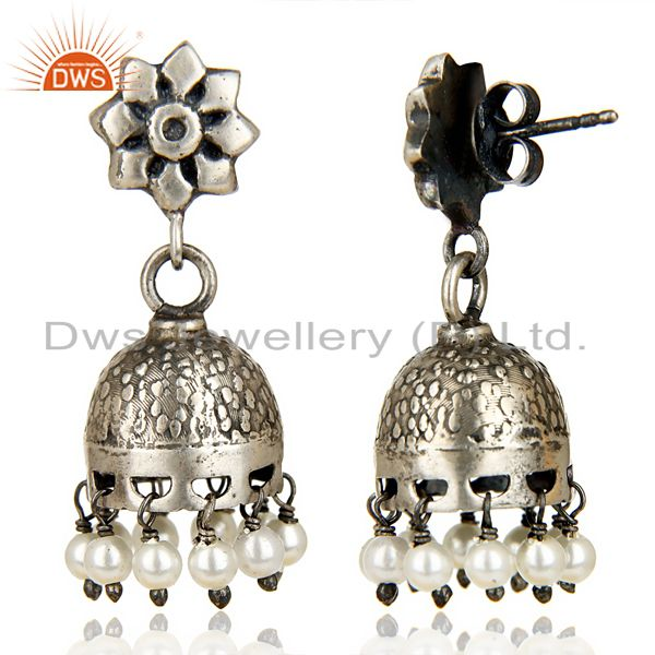 Exporter Black Oxidized 925 Sterling Silver Handmade Flower Design Pearl Jhumka Earrings
