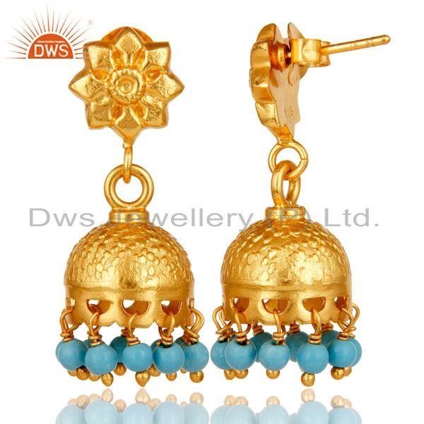 Exporter 18k Gold Plated Sterling Silver Flower Carving Jhumka Earrings with Turquoise