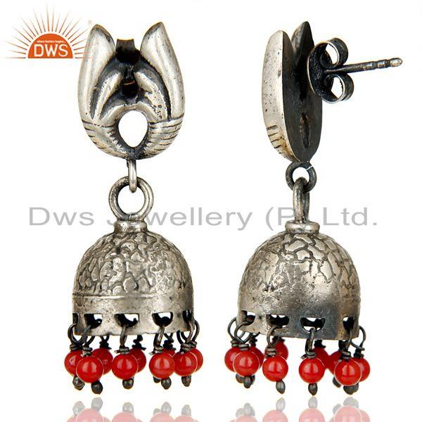 Exporter Black Oxidized 925 Sterling Silver Traditional Handmade Red Coral Jhumka Earring