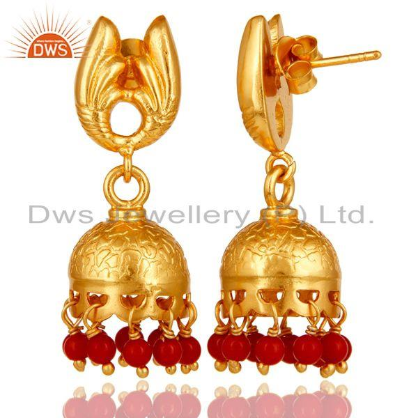 Exporter 18k Gold Plated Sterling Silver Handmade Jhumka Earrings with Red Coral
