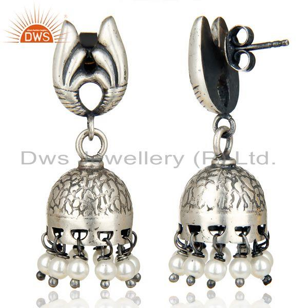 Exporter Oxidized 925 Sterling Silver Traditional Handmade Pearl Jhumka Earrings Jewelry