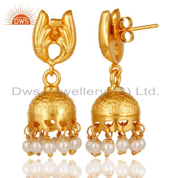 Exporter 18k Yellow Gold Plated Sterling Silver Handmade Jhumka Earrings with Pearl