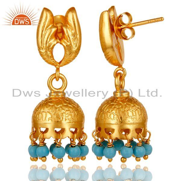 Exporter 18k Gold Plated 925 Sterling Silver Handmade Jhumka Earrings with Turquoise
