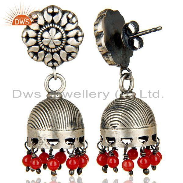 Exporter Oxidized 925 Sterling Silver Traditional Handmade Red Coral Jhumka Earrings