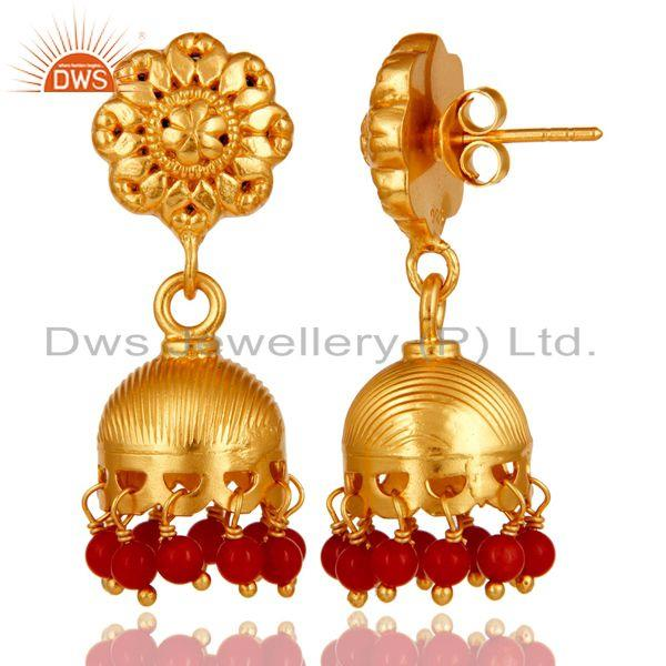 Exporter 18k Gold Plated 925 Sterling Silver Handmade Jhumka Earrings with Red Coral