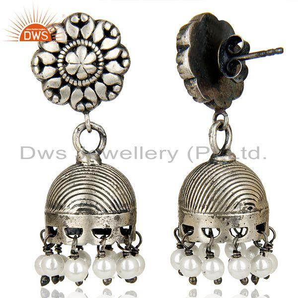 Exporter Black Oxidized 925 Sterling Silver Traditional Pearl Jhumka Earrings Jewelry