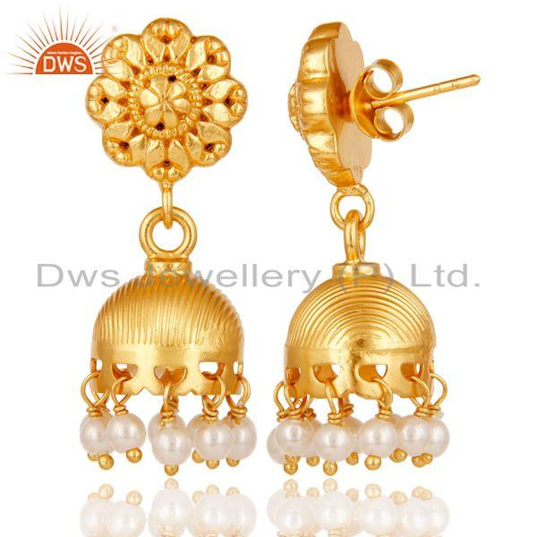 Exporter 18k Yellow Gold Plated 925 Sterling Silver Handmade Pearl Beads Jhumka Earrings