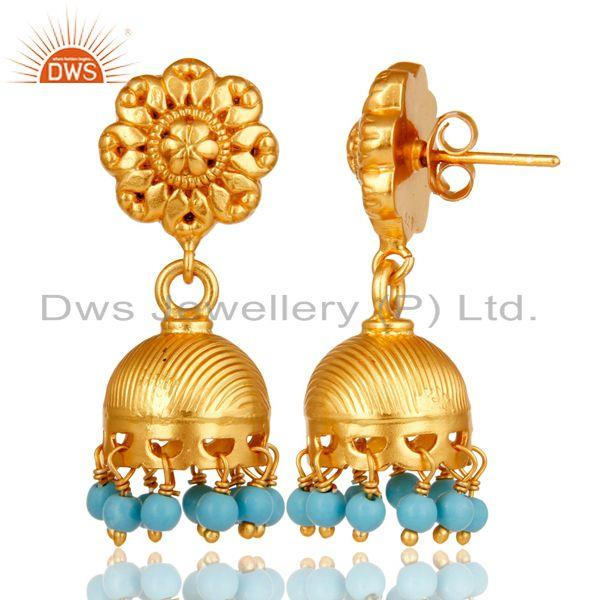 Exporter 18k Gold Plated Sterling Silver Handmade Jhumka Earrings with Turquoise