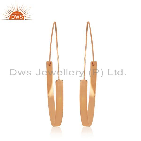 Exporter 14k Rose Gold Plated 925 Sterling Silver Simple Hoop Earrings Manufacturer India