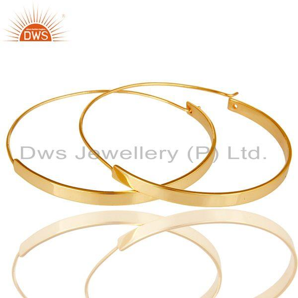 Exporter 18k Gold Plated 925 Sterling Silver Women Large Round Hoop Dangle Earrings