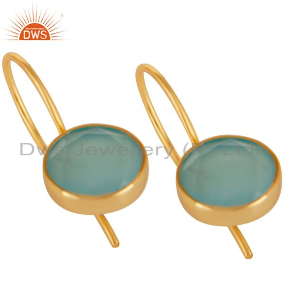 Exporter 18K Yellow Gold Plated 925 Sterling Silver Dyed Chalcedony Drops Earrings