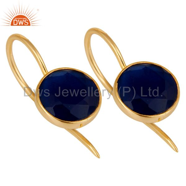 Exporter 18k Gold Plated Sterling Silver Handmade Pin Style Earrings with Blue Corrundum