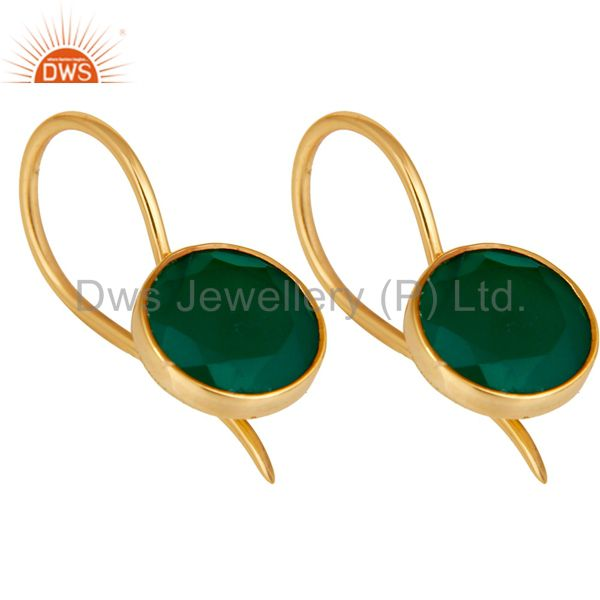 Exporter 18k Gold Plated Sterling Silver Handmade Pin Style Drop Earrings with Green Onyx