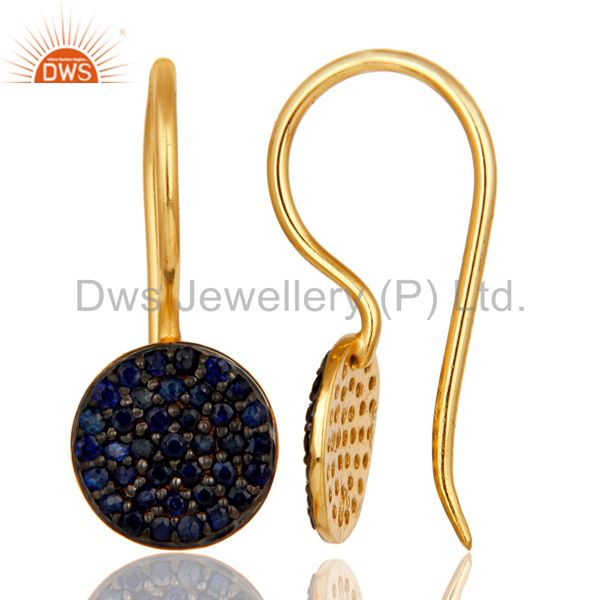 Exporter 18k Gold Plated Sterling Silver Pin Drop Design Earrings with Blue Sapphire