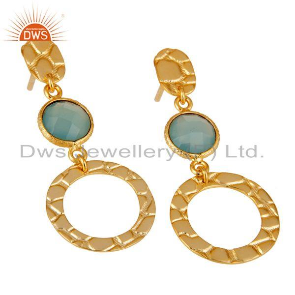 Exporter New Fashion Look 18k Gold Plated Sterling Silver Dyed Chalcedony Drops Earrings