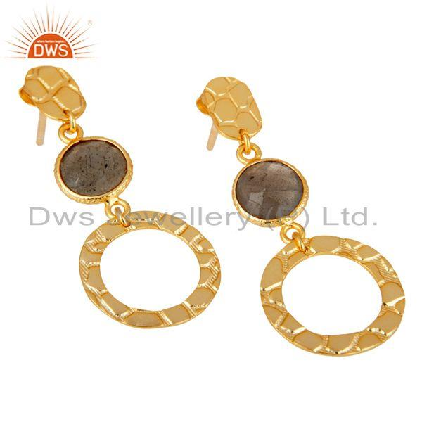 Exporter New Fashion Look 18k Gold Plated Sterling Silver Labradorite Drops Earrings