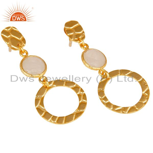 Exporter New Fashion Look 18k Gold Plated Sterling Silver Rainbow Moonstone Drop Earrings