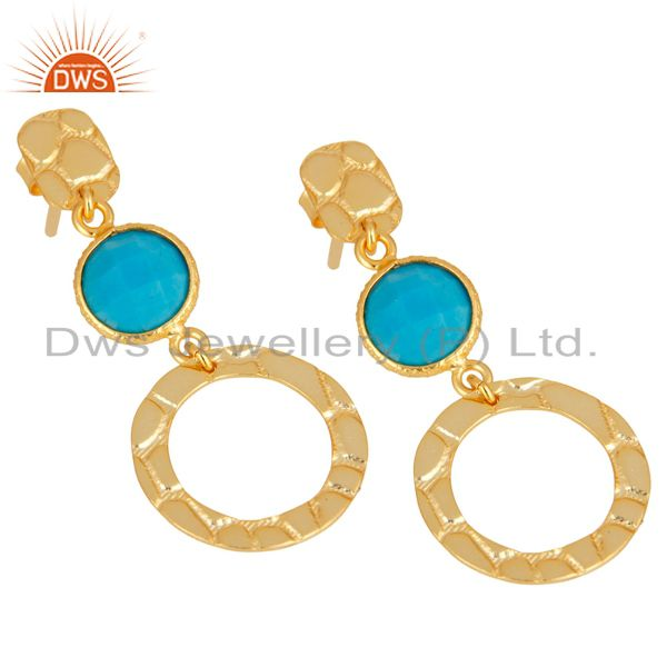 Exporter New Fashion Look 18k Gold Plated Sterling Silver Natural Turquoise Drop Earrings
