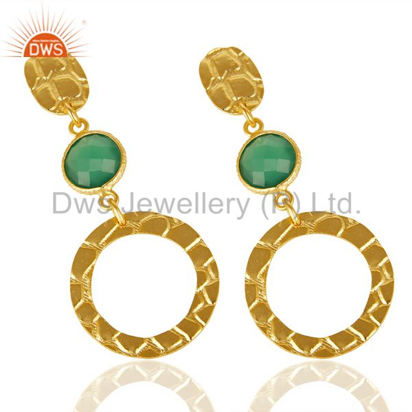 Exporter Green Onyx Alligator Texture Dangle 14K Gold Plated 92.5 Sterling Silver Earring