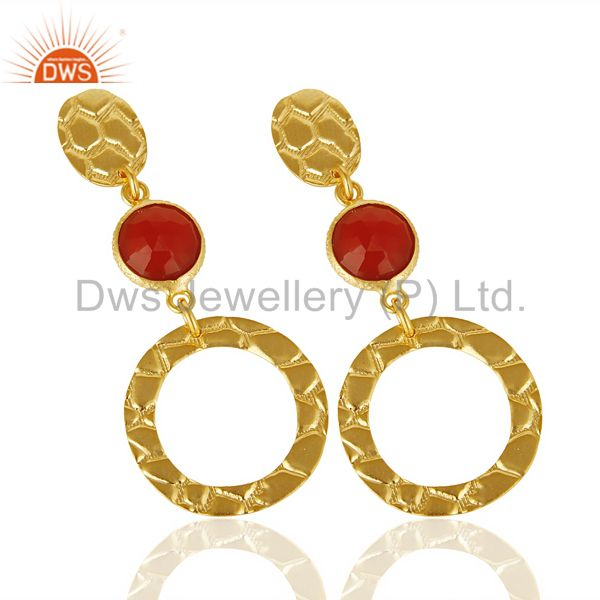 Exporter Red Onyx Alligator Texture Dangle 14K Gold Plated 92.5 Sterling Silver Earring