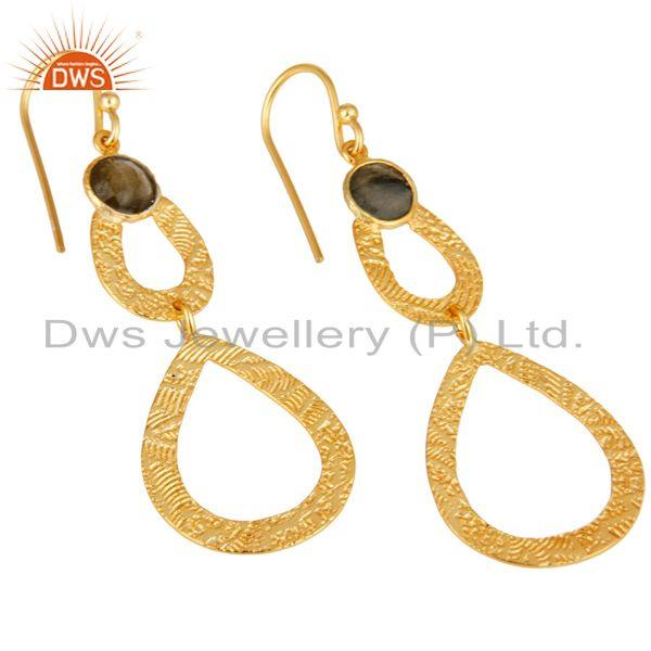 Exporter Labrodorite Leaf Texture Dangle 14K Gold Plated 92.5 Sterling Silver Earring