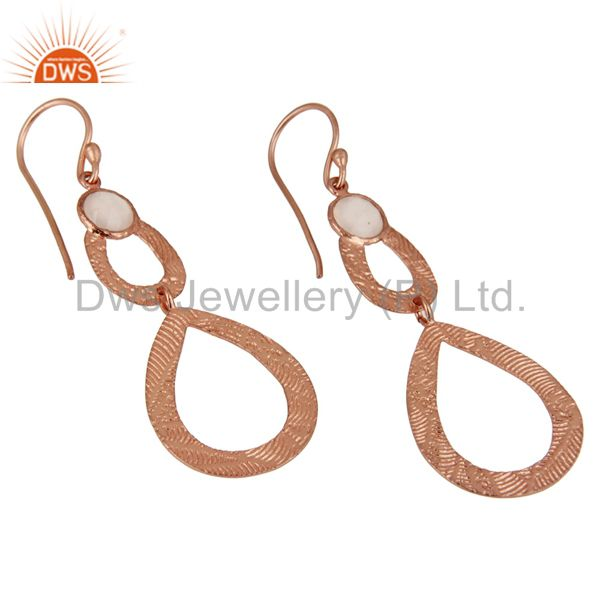 Exporter Rose Chalcedony Leaf Texture DangleRose Gold Plated 92.5 Sterling Silver Earring