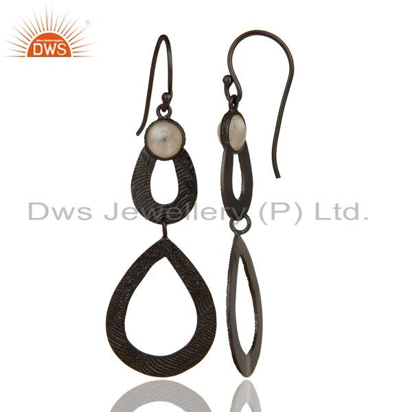 Exporter Black Oxidized Sterling Silver Handmade Textured Design Moonstone Drops Earrings